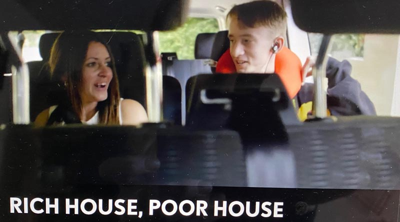 TV Show Rich House Poor House stars Swindon retired couple Shahid & Riffat and Derbyshire based single mum Kelly & her two sons to and from their week long home swap